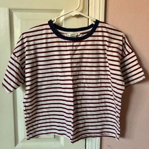 MAROON AND WHITE STRIPPED T-SHIRT